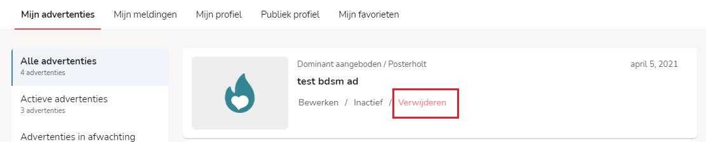 Advertentie verwijderen